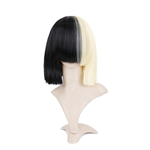 Queentas Half Blonde Half Black Short Straight Bob Wig Synthetic Full Wigs Cosplay Wigs]()