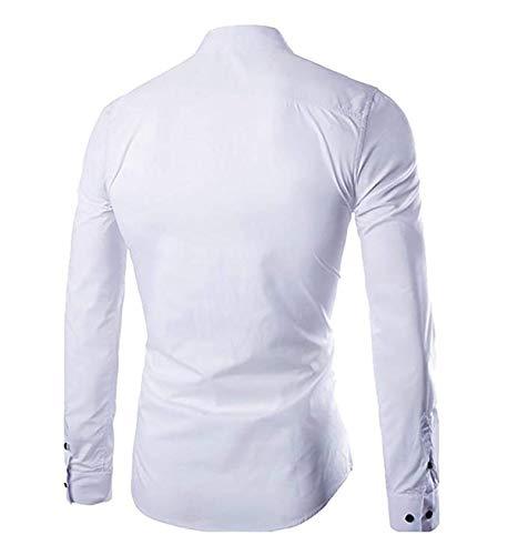 Business Unie Longues Coupe Manches Chemise Allthemen Homme Blanc Fit hommes Couleur Slim wXBzq7q
