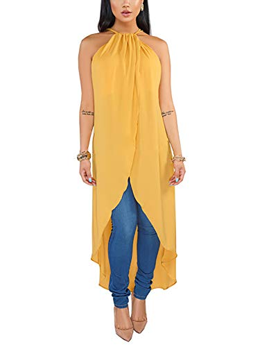 Women's High Low Tops Shirts - Sexy Sleeveless Halter Blouses Dresses Small Yellow