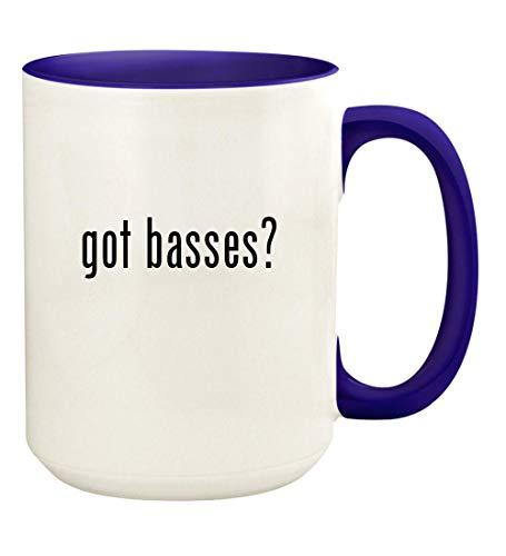 got basses? - 15oz Ceramic Colored Handle and Inside Coffee Mug Cup, Deep Purple