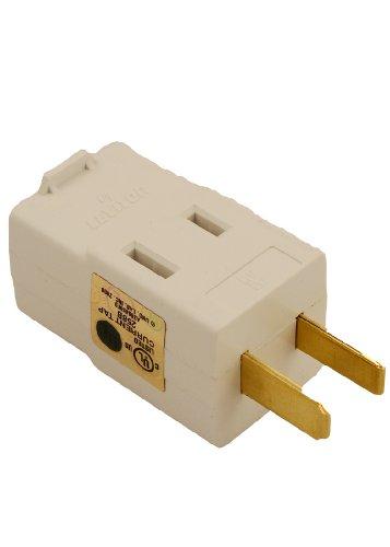 Vinyl Cube Tap - Leviton 531-W 15 Amp, 125 Volt, Triple outlet cube adapter, White