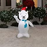 Gemmy Airblown Inflatable Polar Bear Standing Waiving Wearing Santa Hat, Blue and White Striped Scarf - Holiday Yard Decorations, 3.5 Feet Tall