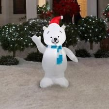 Polar Bear Holiday Inflatable 3.5' Tall for Indoor Outdoor Use