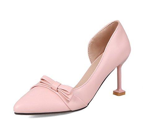 Pu Cuir Chaussures Rose Talon Couleur Tire Femme Unie Agoolar Haut À Légeres 6wzqH55E