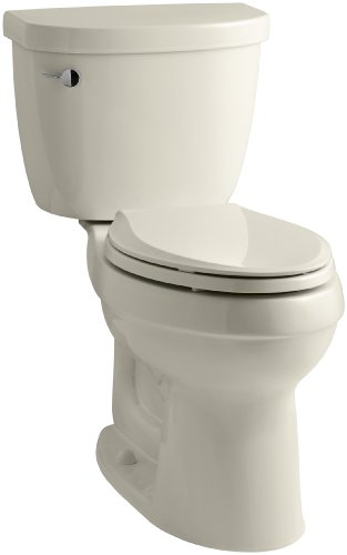 KOHLER K-3609-47 Cimarron Comfort Height Elongated 1.28 gpf Toilet with AquaPiston Technology, Less Seat, Almond