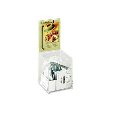 """Safco - Collection Box With Graphics Display 5 1/2 X 5 1/2 X 13 Clear """"Product Category: Office Accessories/Mail & Suggestion Boxes"""""""