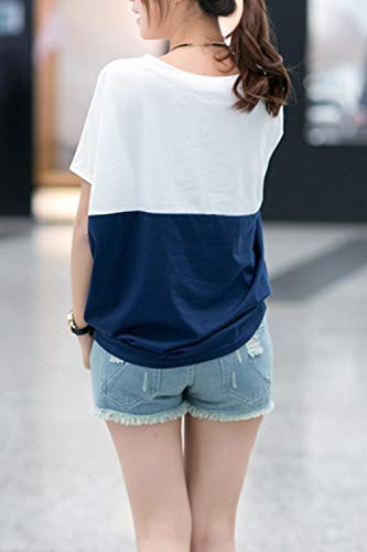 ae12fed26c4 Women's Batwing Tops Scoop Neck Color Block Casual T Shirt Tee ...
