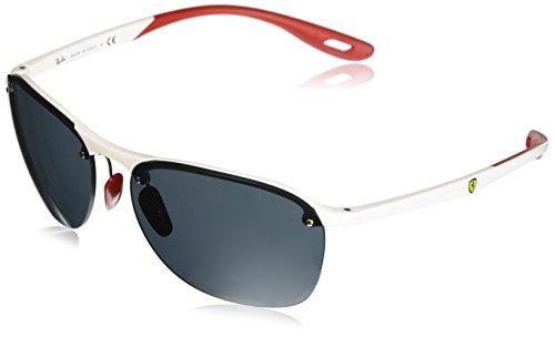 (Ray-Ban Men's RB4302M Scuderia Ferrari Collection Square Sunglasses, Transparent White/Grey, 62 mm)