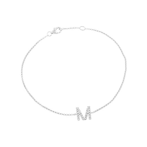 14k White Gold Diamond Studded Letter ''M'' Initial Bracelet, 7.5'' by Isha Luxe-Initials