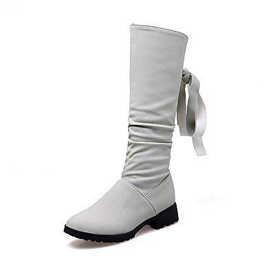 Punta media Borla grueso C Piel Zapatos nobuck de bajo de EU36 a Botas tacón artificial mujer pierna Cuero para de Botas otoño Tacón RTRY UK4 redonda US6 Botas invierno Bowknot CN36 moda FHgqq