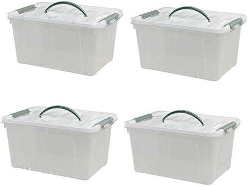 Ponpong Cajas de Almacenamiento con Tapa (4 Unidades, con asa de plástico, Tamaño Grande), Transparente: Amazon.es: Hogar