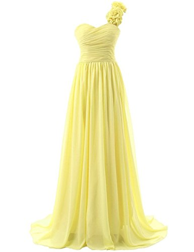 Lang Damen Wedding Kleider Mint Brautjungferkleider Party Yellow One Fanciest Shoulder 4t6wdqCC