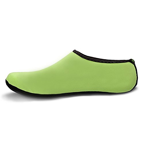 WONZOM FASHION Frauen Barfuß Wasserhaut Schuhe Quick-Dry Aqua Socken für Beach Pool Schwimmen Dive Surf Yoga Grün