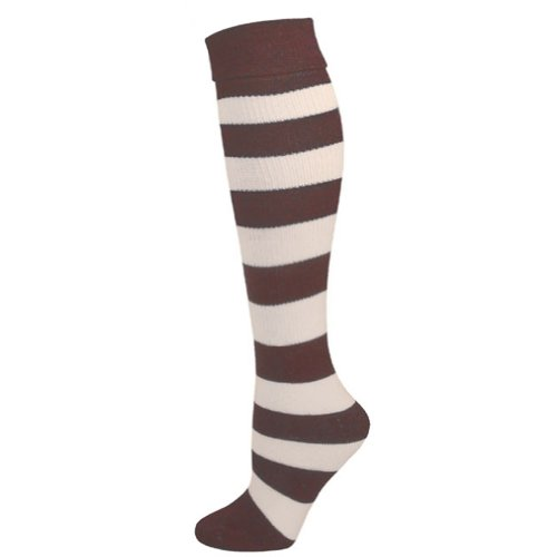 Oompa Loompa Wig (Kids Striped Knee Socks - Brown/White)