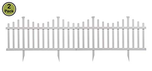 Plastic Fence Panels - Zippity Outdoor Products ZP19001 Picket Fence, 1 x Pack of 2, White