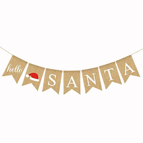 Hello Santa - Jute Burlap Hello Santa Banner Santa Claus Christmas Fireplace Mantel Bunting Garland Decoration