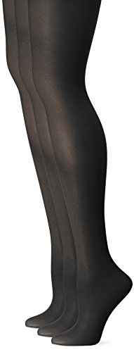 (L'eggs Women's Energy 3 Pack Control Top Sheer Toe Panty Hose, Jet Black, Q)