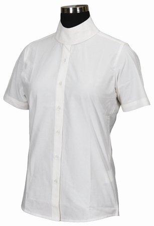 TuffRider Girl's Starter Short Sleeve Show Shirt, Light Blue, 14