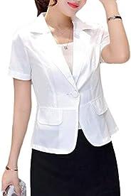 FSSE Womens Short Sleeve Solid Color Summer Short Crop Business Work Blazer Jacket Suit Coat