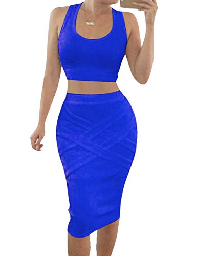 Bess Bridal Womens Crop Top Midi Sexy Outfit Two Pieces Bodycon Bandage Dresses, Medium, Blue