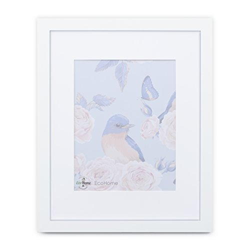 16x20 White Picture Frame - Matted to 11x14, Frames by EcoHome Vintage Beveled Glass