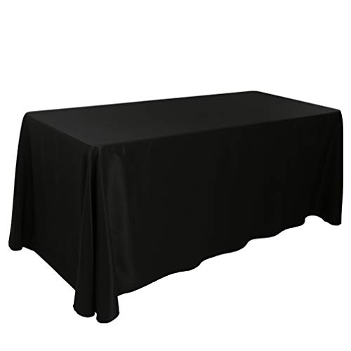 E-TEX 90 x 156-Inch Oblong Tablecloth, 100% Polyester Washable Table Cloth for 8Ft. Rectangle Table, Black by E-TEX