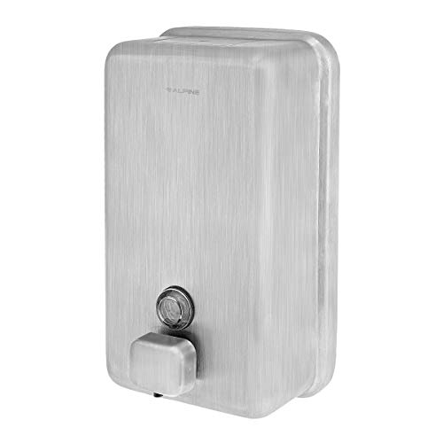 Alpine Industries Manual Stainless Steel Liquid Soap Dispenser, Vertical - 40oz Capacity - Rust Proof Wall Mounted Commercial Handsoap Holder for Office Home & -