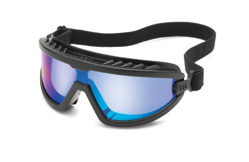 Gateway Safety 4589F Wheelz Stylish and Comfortable Safety Goggle, Blue Mirror Anti-Fog Lens, Black Frame ()