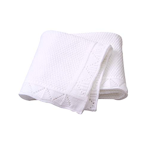 Ziyunlong Baby Blanket Knit Crib Toddler Blanket for Boys and Girls(Pure White) (Baby Hand Crocheted Blankets)