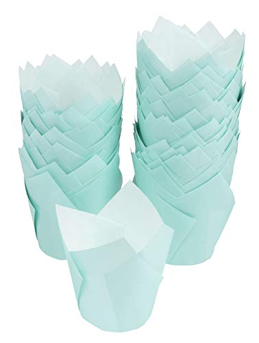 Tulip Cupcake Liners - 300-Pack Medium Baking Cups, Muffin Wrappers, Perfect for Birthday Parties, Weddings, Baby Showers, Bakeries, Catering, Restaurants, Baby Blue