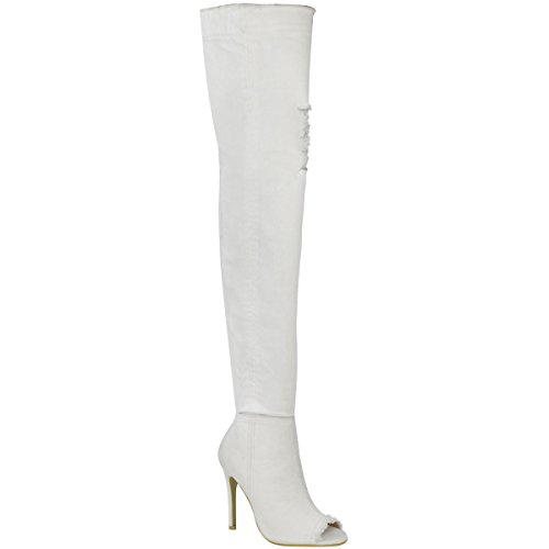 Fashion Stretch Over Thirsty Heels Size High Denim Thigh The White Denim Stilettos Womens Knee Boots rErqwRv