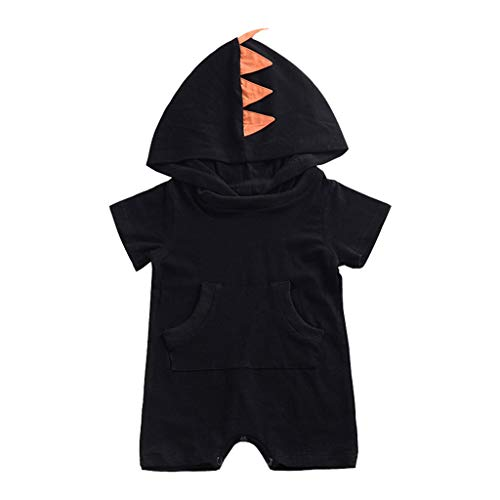 Price comparison product image NUWFOR Infant Baby Short Sleeve Solid Dinosaur Hooded Jumpsuit Romper Clothes(Black, 18-24Months)