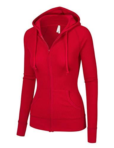 OLLIE ARNES Women's Thermal Long Hoodie Zip Up Jacket Sweater Tops Thermal_RED XL
