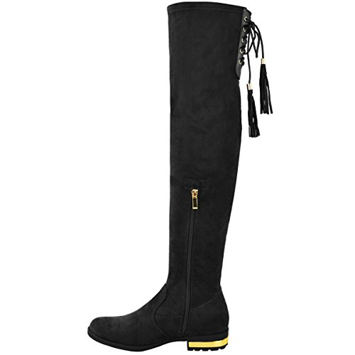 Fashion Thirsty Womens Ladies Over The Knee Flat Boots Faux Suede Thigh High Tassel Shoes Size Black Faux Suede AIYrrpTi