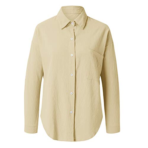 Pengy Women's Blouse Cotton-Linen Fashion Summer V Necak Flax Top Pure Long-Sleeved Top Blouse Khaki