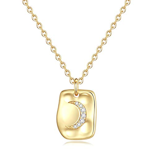 - Turandoss CZ Moon Necklace for Women Gifts - Gold Plated Sparkly Moon Pendant CZ Necklace for Women Girls, Dainty Crescent Moon Necklace Best Bridesmaid Gifts Wedding Gifts Bridal Shower Gifts