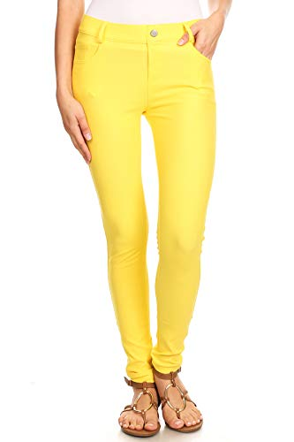 ICONOFLASH Women's Yellow Jeggings with Pockets - Pull On Skinny Stretch Colored Jean Leggings Size Large