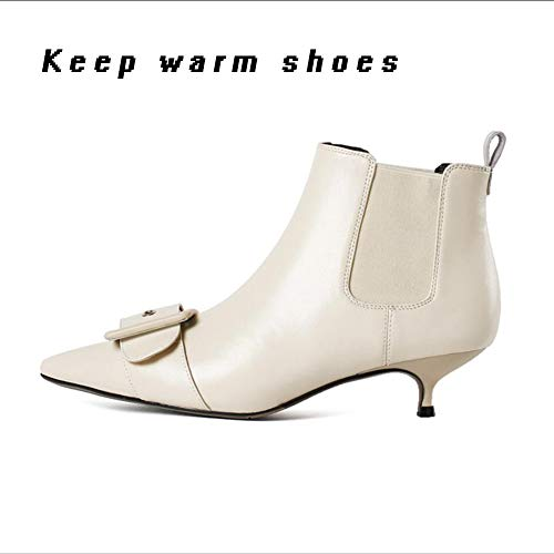 Boots D Ankle Boots Keep shoes XUE Shoesleather Winter Fine Bootie Fall Boots warm Fashion Boots Leather Women's Heel Pointed Ankle Boots 01U0WTv