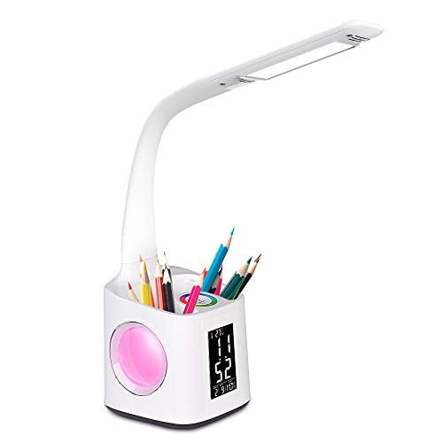 Donewin LED Desk Lamp with USB Charging Port&Pen Holder, Study Light with Clock&Calendar, Study Lamp for Kids/Girls/Boys, Eye-Caring Desk Light for Office/Work/Reading, Colorful Night Light,10W