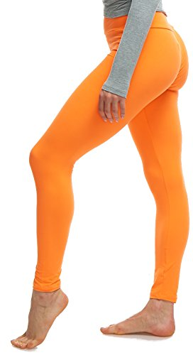 LMB Lush Moda Extra Soft Leggings - Variety of Colors - Yoga Waist - Neon Orange ()