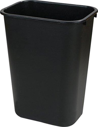 Carlisle 34292803 Plastic Deskside Wastebasket, 28 Quart, Black