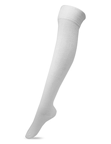 Women's Over The Knee High Socks(White), One (White Socks Jeans)