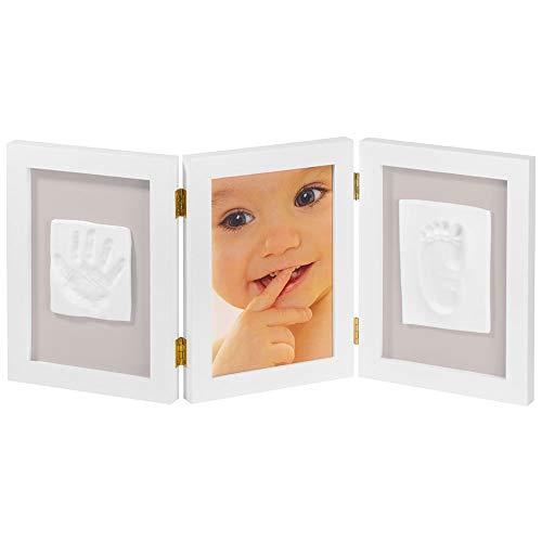 My Sweet Memories ES Photo Frame + 2 Baby Print - Marco triple para foto y 2 huellas de bebe, color bl