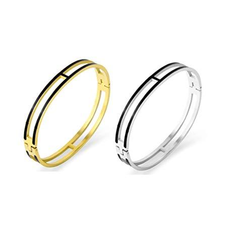 Fashion Titanium Steel Bracelets Buckle Bangle Love Bracelet Enamel Bracelet Jewelry for Women(8mm 2black)