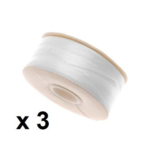 Thread Beading Nymo (3 X 64-Yard NYMO Nylon Beading Thread Size D for Delica Beads, White (Pack of 3 bobbins))