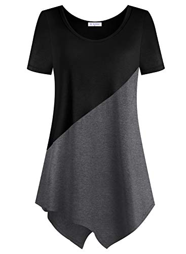 Bulotus Women Short Sleeve Color Block Tunic Tops Casual Shirt (Black Grey Patchwork, Medium)