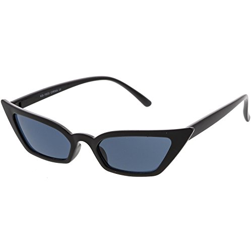 sunglassLA - 90s Small Vintage Cat Eye Sunglasses for Women with Thin Extreme Rectangle Frames (Black/Smoke)