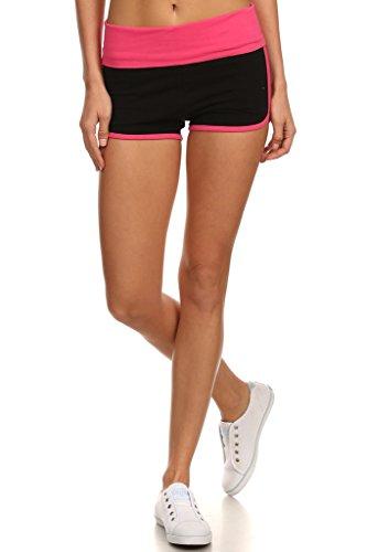 - MOPAS Yoga Shorts with Fold Over Solid Waistband