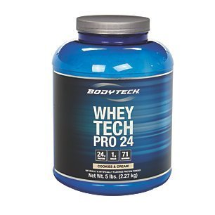 BodyTech Whey Tech Pro 24 Protein Powder Protein Enzyme Blend with BCAA's to Fuel Muscle Growth Recovery, Ideal for PostWorkout Muscle Building Cookies Cream (5 Pound)
