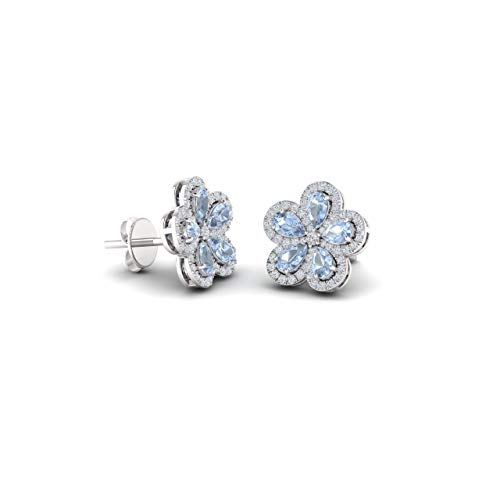 Diamondere Natural and Certified Aquamarine and Diamond Floral Earrings in 14K White Gold | 2.85 Carat Earrings for Women ()